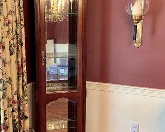 Corner curio cabinet with glass shelves: $325
