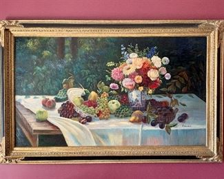 Large and lovely: Beautifully framed, signed, painting depicting fruit and flowers: $375