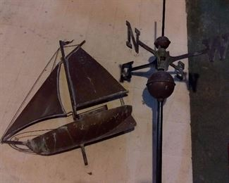 Antique Copper Sailboat Weathervane