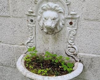 Antique Cast Iron Wall Mounted Lion Planter - $150