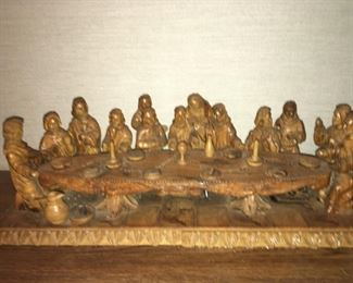 """Hand Carved """"Last Supper"""" Scene"""