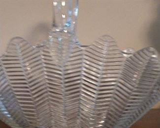 Feather design glass basket.  $15
