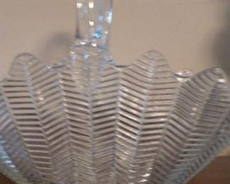 Feather design glass basket.  $8