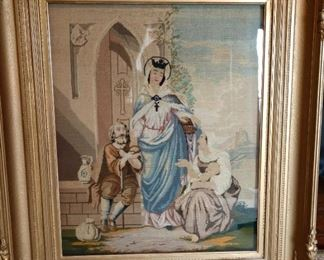 18th Century Needlepoint.  Bids start at $300  large old frame