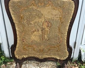Antique Needle Point Fire Screen