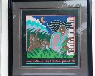 1987 Jazz Fest- Artist Hugh Ricks- #11,698/12,500-- Expert Framing w/ 3 Color Mat   NOW $225   Was $275  Now $225