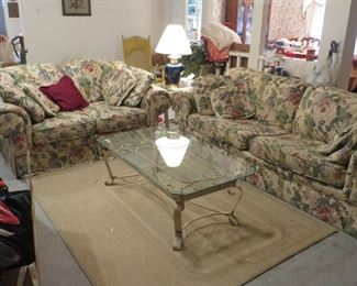 Rooms 2 Go sofa, loveseat, glass coffee table & 2 end tables