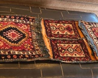 Antique Turkish Carpet Saddle Bag with leather Trim Purchased in Istanbul, 1920's                                 $240