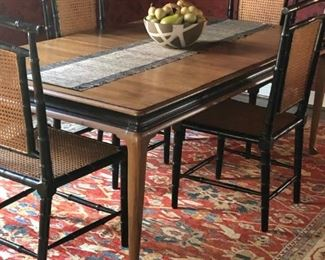 "Solid Walnut Dining Table made by Davis Cabinet Company circa 1950  (42""x60"") with two leaves is 92"".  Chairs included                               $1000"