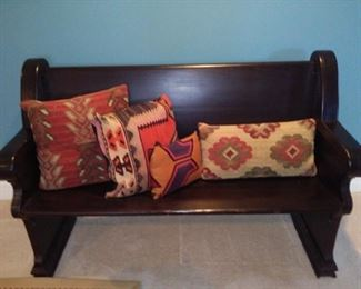 Vintage Oak with Black Stain Finish Church Pew  (pillows priced separately)                                           $310