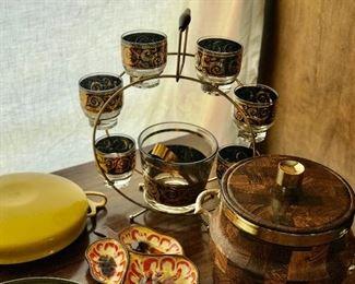 vintage bar ware set ice bucket, tongs and six glasses