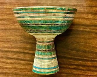 large Italian pottery chalice with turquoise inside