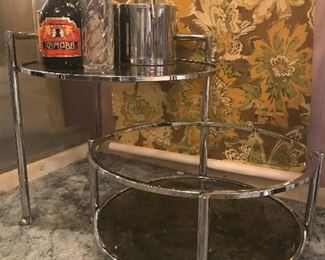 mid century chrome and smokey glass swing out cocktail cart , bottles and ice bucket are not included