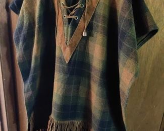 Vintage Pioneer Wear wool and suede poncho small
