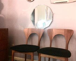mid century mod Danish teak side chairs by Niels Koefoed