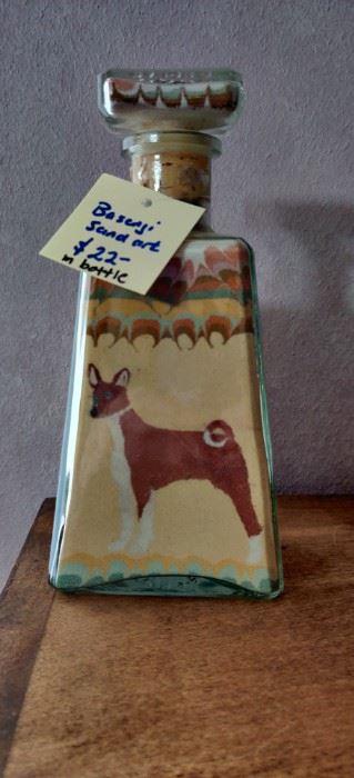 """Sand art  Basenji dog approx 12"""""""