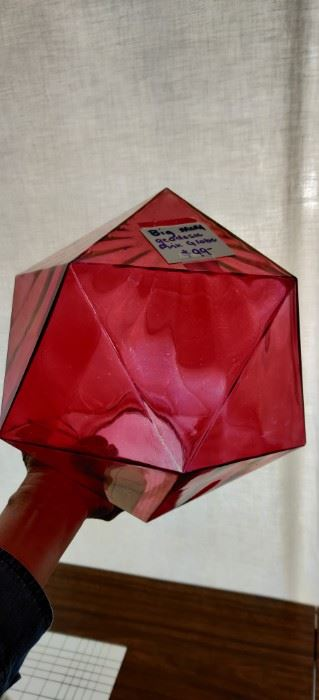 large geodesic  MCM pink glass globe.  very unique  approx 9.5 inches