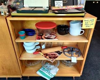 MCM maple adjust able shelves with great vintage legs, items on shelf not included