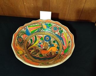 large  MCM dayglow Mexican  pottery bowl
