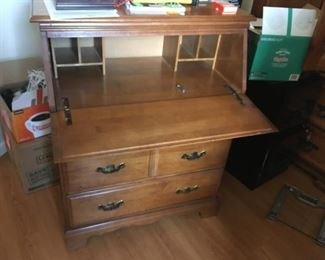 This is the same desk opened to display its cubbies!