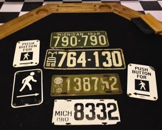 Walk Signs 1910 1918 1926 1928 License Plates