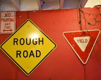 Rough Road Yield and No Parking Signs