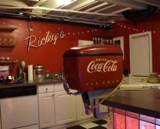 Boat Style Coke Cola Fountain Machine, Neon Light, Ice Cream Sunday Items (machine has all the fountain parts)