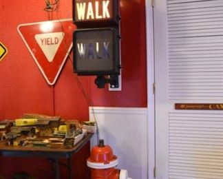 Don't Walk and Walk Lighted Sign by Eagle & Fire Hydrant