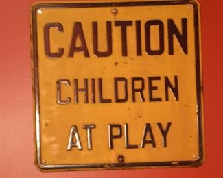 Origianal Antique Children at Play Embossed Street Sign