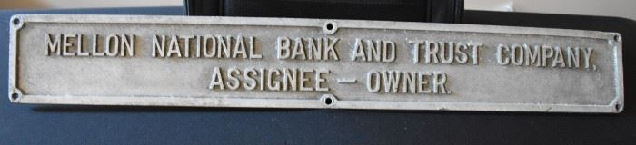 Mellon National Bank Sign was Lord Taylor now is NY Bank Antique Sign