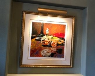 """(No. 1) Aldo Luongo """"Night Cap"""" 1997 ~ Limited Edition 91/100 ~ measures 37 x 37"""" with frame. Comes with COA ~ $500 OBO"""