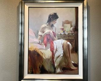 """(No. 2) """"Expectations"""" by Pino Daeni 2005. Giclee on Canvas 4/95 AP ~ measures 40"""" x 50"""" with frame. Comes with COA ~ $900 OBO"""