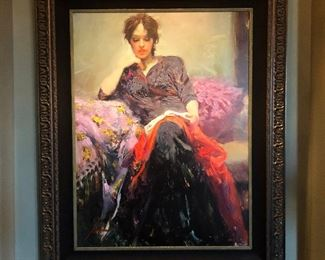 """(No. 3) """"Her Favorite Book"""" by Pino Daeni ~ Giclee on Canvas, 30/95 AP (2005) w/ COA ~ Measures 40"""" x 50"""" with frame. $900 OBO"""