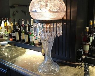 (No. 7) Antique Cut Glass Lamp- Mushroom Shade and Prisms .  Great condition!  $300