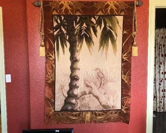 """(No. 14) Smaller Wall Tapestry measures 40"""" x 58"""" tall, with rob and tassels.  $75"""