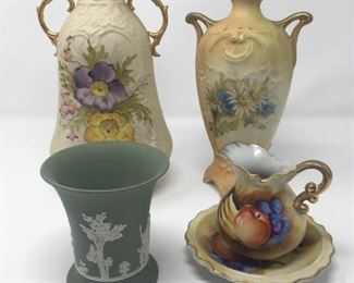 Decorative Vases, Pitcher, and Cup