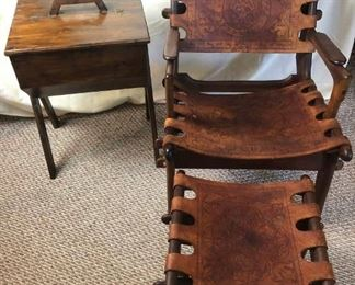 Ecuadorian Leather and Wood Chair, Stool, and Table