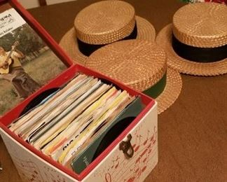 1930s boater hats.  One by Stetson. 60s and 70s 45 box filled.