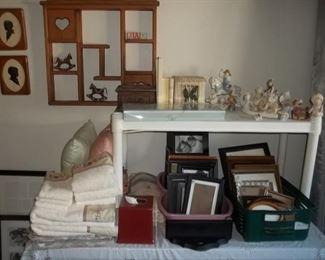 bedding, frames, and knick knacks