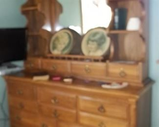 vintage hutch style triple dresser