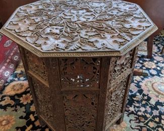 carved hexagonal table