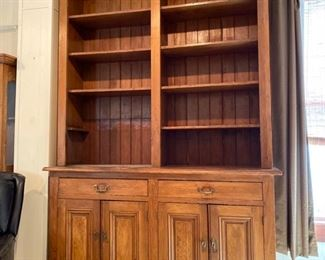 "Custom-made cypress bookcase/cabinet: $750  9 ft H x 71"" W x 19.5"" D"