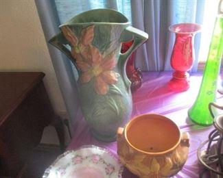 Two large antique ROSEVILLE pottery vases, c. 1880.