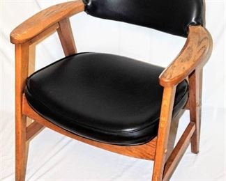 Vintage SOLID Wooden Office Side Chair with Black Vinyl Seat and Back