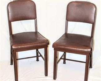 """Vintage """"Invincible"""" Metal Furniture, Set of 2 Matching Office Desk Chairs with Vinyl Seat and Back"""