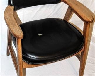 Vintage Armchair Wood and Vinyl (matches 3876)