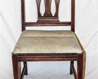 Vintage Wooden Side Chair with Vinyl Seat