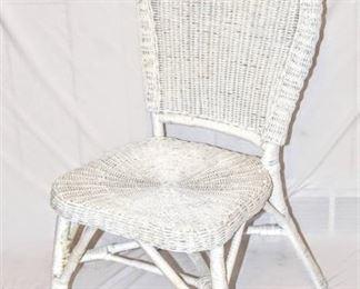 White Wicker High back Chair