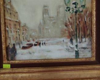 Artwork, snowy street