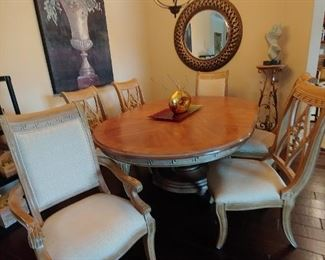 BERNDARDT Dining Room Furniture. 6 Chairs, 2 Captain with Arms & 4 Side Chairs.  Table includes a Leaf & Protective Pads $750 REDUCED FROM $950